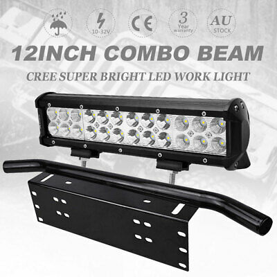 12Inch CREE LED Light Bar Spot Flood Work Driving Light 23'' Number Plate Kit