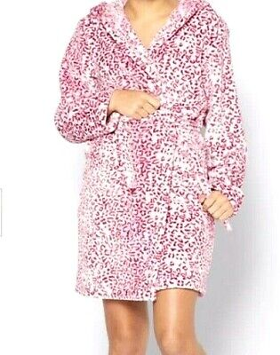 New Older Girls  Super Soft Fleece Robe Leopard Print Dressing Gown 12-13 Years