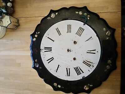 Antique Clock Face And Frame Very Unusual With Rare Stone/jewel In The Frame