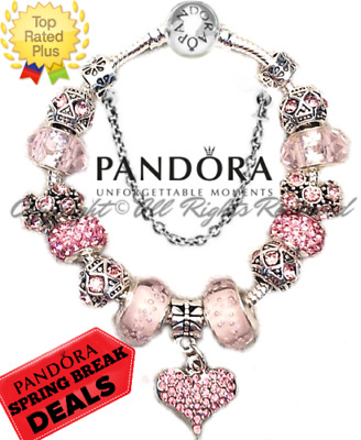 AUTHENTIC PANDORA Charm Bracelet Silver Pink Enchanted Heart w/ European Charms