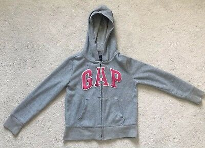 GAP Girls grey hooded jumper Top With Zipper, Size 8 Years Great Condition