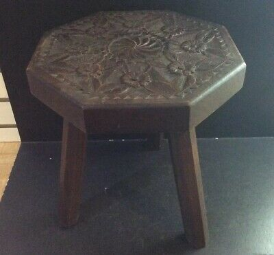 Antique Early 1900's Arts & Crafts Carved Wooden 3 Legged Milking Stool