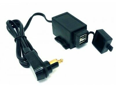 Motorcycle 12v Twin USB Charger Cable With Right Angle DIN Plug