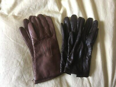 2 pairs of ladies leather gloves, both brown, size 7