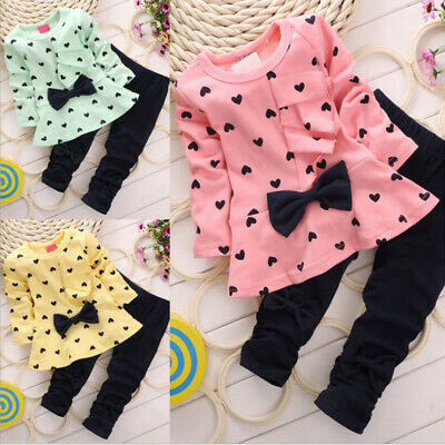 2PC Long Sleeve Ruffle Bow Top+Legging Pant For Toddler Kids Girls 2-7 Years Old
