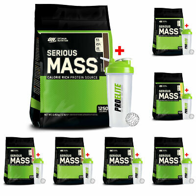 Optimum Nutrition ON Serious Mass 5.4kg Weight Gainer Protein Powder Shakes + Sh