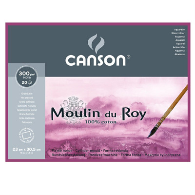 Canson Moulin Du Roy 300gsm Watercolour Paper, Hot Pressed Texture, Block of 20