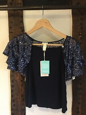Monsoon Girls Navy Party Outfit With Sequin Shorts And Top Aged 10-12 Monsoon