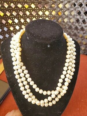 """vintage Single Strand Hand Knotted Pearl Necklace sterling silver Clasp 26"""" long"""