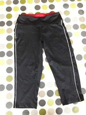 Girl's 3/4 length sports trousers, very good condition, black w magenta inside
