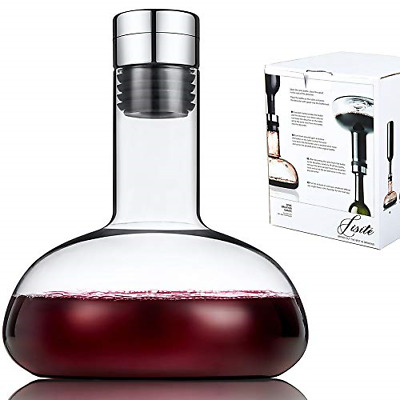 SJ Wine breather Carafe with lid 50oz,100% Hand Blown Crystal glass decanter,