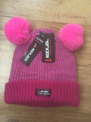 Pink Rockjock Girls Striped Knitted Hat With Dual Pom Pom