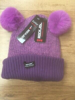 Girls Purple Thermal Hat With Dual Pom Poms