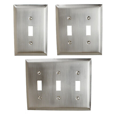 GlideRite Brushed Nickel Light Switch Cover Steel Despard Toggle Wall Plates