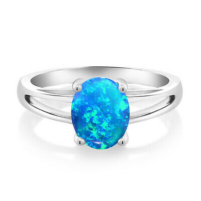 0.56 Ct Oval Cabochon Blue Simulated Opal 925 Sterling Silver Solitaire Ring
