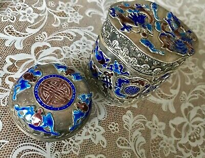 ANTIQUE Chinese Export SILVER Filigree Enamel ORIGINAL Boxes