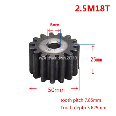 Motor Spur Pinion Gear 2.5Mod 18T 45# Steel Outer Dia 50mm Thickness 25mm x 1Pcs
