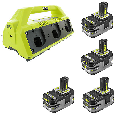 Ryobi P135 6-Port Dual Chemistry Super Charger Kit with Four 3.0Ah P191 Battery