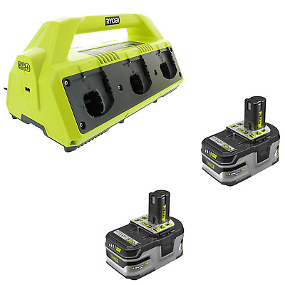 Ryobi P135 6-Port Dual Chemistry Super Charger Kit with Two 3.0Ah P191 Battery
