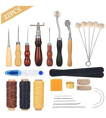 Leather Working Tools Kit Set Sewing Craft Supplies Stitching Making Groover Awl