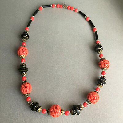 Vintage Antique Galalith Beads Deep Hand Carved Coral Celluloid Necklace 17''