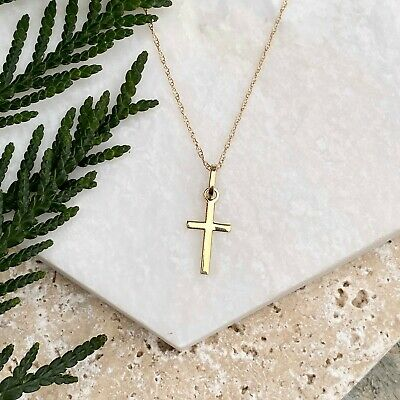 Polished 14KT Yellow Gold Mini Cross Pendant Charm Chain Necklace NEW