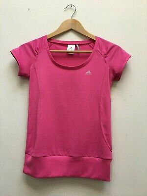 Adidas Ladies Pink Clima365 Sports Tee Womens Gym Running T-Shirt Top Size 8