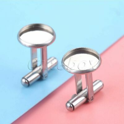 2Pcs Stainless Steel Cabochon Cufflinks Photo Image Tray DIY Jewelry Button Base