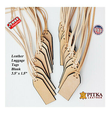 Leather Luggage Tags Blank - Tooling Ready Natural leather Tags made in USA