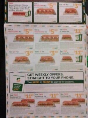 2 Whole Sheets Subway Restaurant Coupons Exp 12/29/19