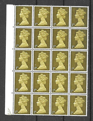 GB SG724 1d Machin, Yellowish Olive, 2 bands, Block of 20, Head B, Spec U2(2) UM
