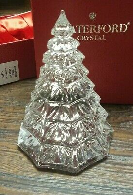 "Waterford 6.5"" Crystal Glass Christmas Tree Sculpture New in Box"