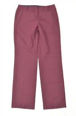 Ann Taylor LOFT 4 Maroon Red Purple Julie Straight Wool Blend Dress Pants