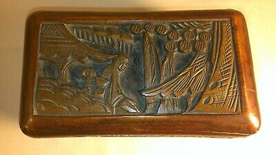 Antique Chinese wooden box hand carved with nailed brass hinges intact