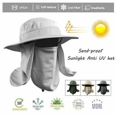 Hiking Fishing Hat Outdoor Sport Sun Protection Neck Face Flap Cap Wide Brim HA