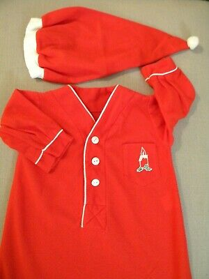 Vintage Baby Boy's Flannel Christmas Night Gown & Cap Sleep Set