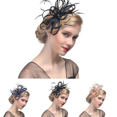 Ladies Womens Elegant Sinamay Flower Feather Headband Fascinator Hair Band ZH1