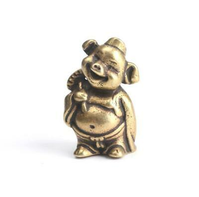 Antique Chinese Collectible  Brass Handwork Amass Fortunes pig Pendant Statue