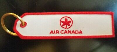 Air Canada Airlines Red White Maple Leaf  Keychain Key Ring embroider no wrapper