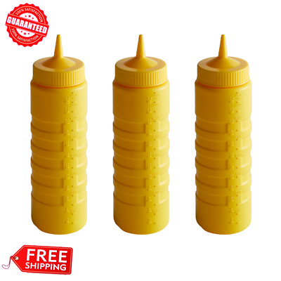 (3/Pack) Vollrath Squeeze Bottle - Ridged Round, 24 oz. Cap., Yellow, Wide Mouth