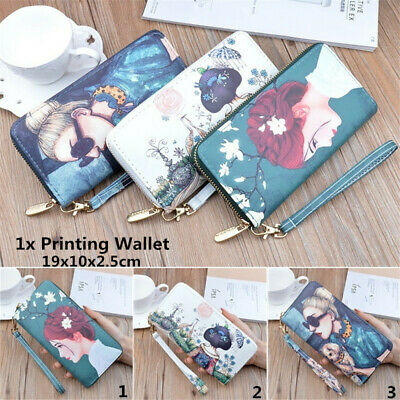 Women Printing PU Handbag Phone Pouch Long Wallet Zip Card Holder Clutch Bag