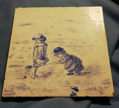 Unusual tile mintons hollins and co , children beach scene, hand painted blank