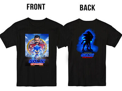 New Sonic the Hedgehog Poster Movie 2020 T Shirt S-5XL Men Front Back