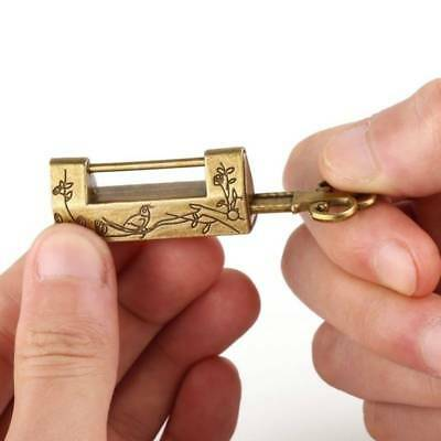 Locks Old Style Lock Excellent Brass Carved Word Padlock Chinese Vintage Antique
