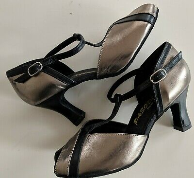 PASODOBLE Dance Shoes~Black & Pewter Leather STRAPPY T-BAR DANCING HEELS~Size 7C