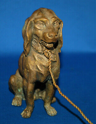 A characterful antique Bloodhound dog figure, Victorian, painted cast metal