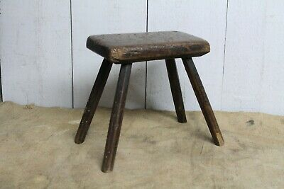 Antique Oak Stool Faceted Legs Early Original Period Cottage