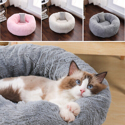 Pet Dog Cat Warm Plush Kennel Calming Bed Round Nest Comfy Sleeping Cave +Pillow