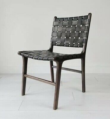 Souk Collective Katjia Washed Teak Black Leather Dinning Chair RRP £260 DELIVERY