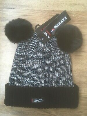 Girls Black Thermal Hat With Dual Pom Poms